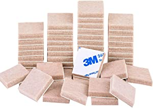 """Felt Furniture Pads Beige 1"""" 48Pieces Pack Square Self Adhesive Furniture Pads Anti Scratch Felt Pads Heavy Duty 5mm Thick Floor Protector for Chair Feet for Hardwood Floor"""