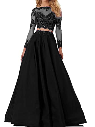 4098b09be110c Lisa Long Sleeve Lace Prom Dress Satin Two Piece Evening Party Gown LS122  Black