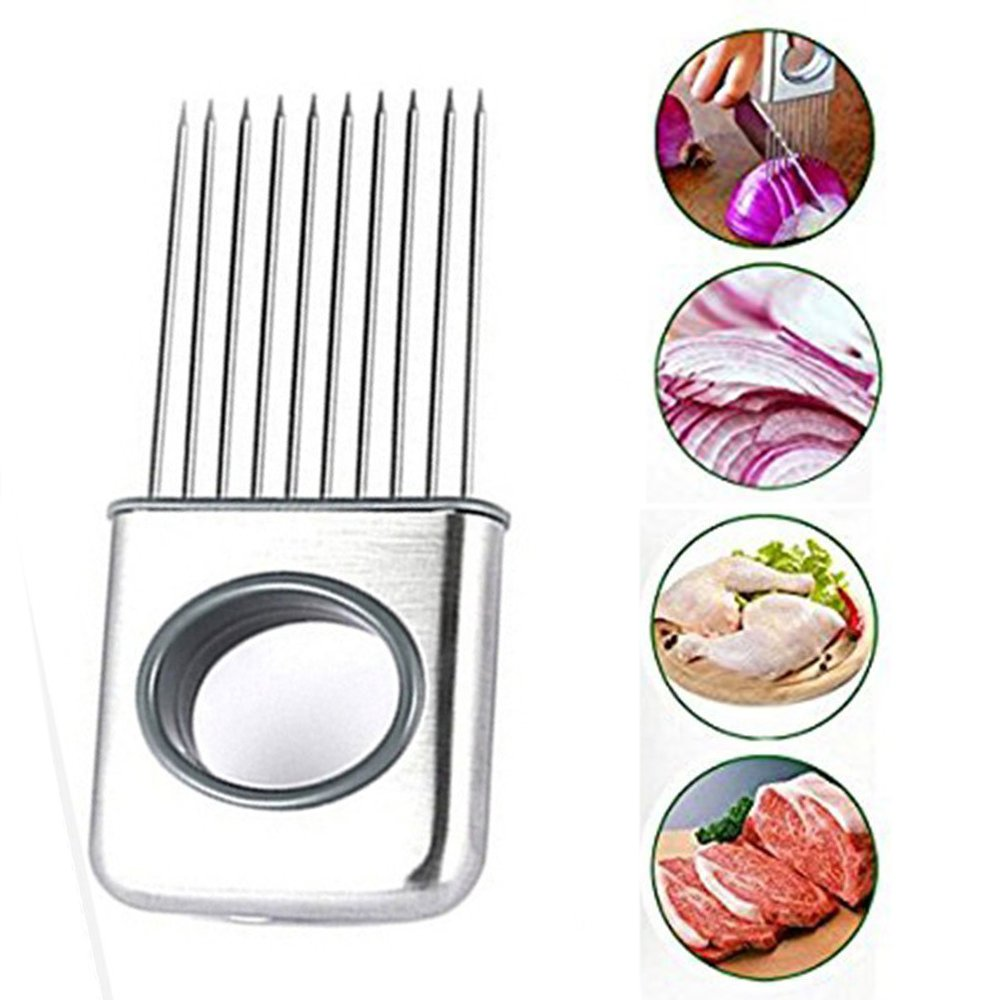DesignerBox Stainless Steel Onion Holder Tomato Slicer Meat Tenderizer Kitchen Gadgets Vegetable Fruit Cutter Cutting Tools Kitchen Accessories - Silver