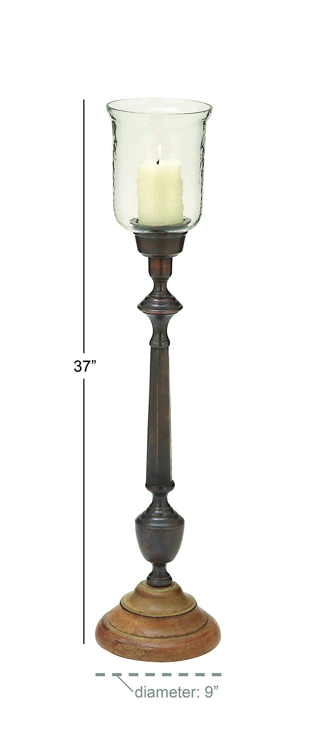 Deco 79 42151 Wood Glass Hurricane, 9'' x 37''