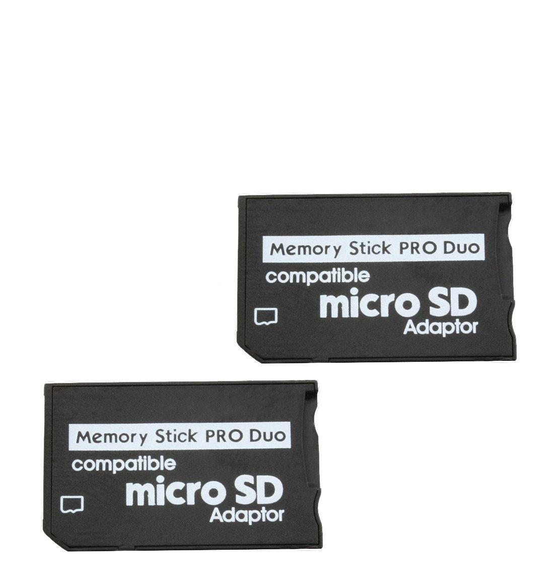 com-four® Adaptador 2X Micro SDHC a MS Pro Duo Tarjeta de Memoria microSD a Memory Stick para Sony PSP Cámara Teléfono móvil máx. 16GB (2 Piezas V1) ...