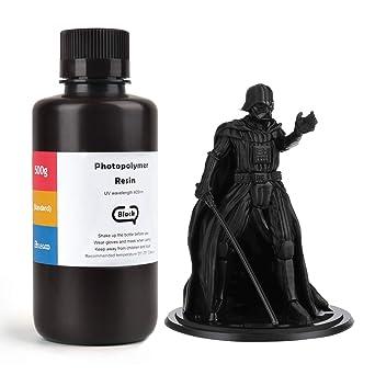 ELEGOO LCD UV 405nm 3D Resina Rápida para LCD Impresora 3D 500g Fotopolímero Resina Negro