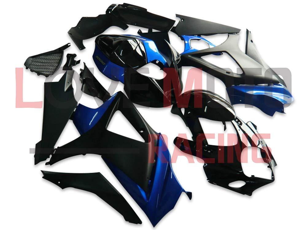 LoveMoto ブルー/イエローフェアリング スズキ suzuki GSXR1000 GSXR 1000 2007 2008 K7 07 08 GSX R1000 K7 ABS射出成型プラスチックオートバイフェアリングセットのキット ブルー ブラック   B07KG39R6B