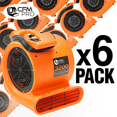 Commercial Carpet Dryer (CFM PRO Air Mover Carpet Floor Dryer 2 Speed 1/2 HP Blower Fan - Orange - Industrial Water Flood Damage Restoration (6 Pack))