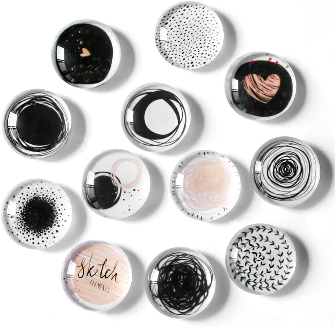 12pcs Refrigerator Magnets, Cosylove Crystal Glass Circular Line Pattern,Fridge Magnets Decor for Home Office Cabinets, Whiteboards, Photos