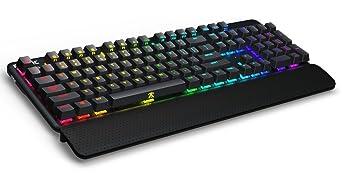 Fnatic STREAK Teclado mecánico para juegos Esports (interruptores Cherry MX rojo, iluminación RGB multicolor, reposamuñecas ergonómico, ...
