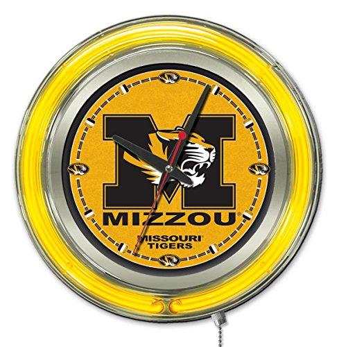 Tigers Neon Clock - Holland Bar Stool Company Clk15Mizzou NCAA Missouri Tigers Double Neon Ring Logo Clock, 15