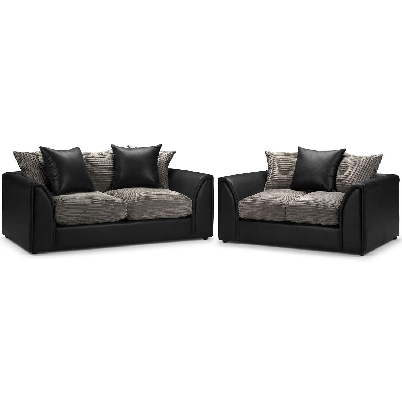 Byron 3 2er Sofa, Sessel, aus Kord, Schiefer, Rhino Black - 3er Sofa ...