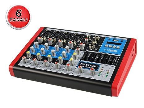 vetrineinrete® Mixer audio 6 canales con ecualizador y pantalla ...