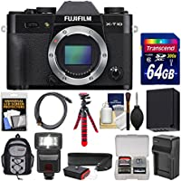 Fujifilm X-T10 Digital Camera Body (Black) with 64GB Card + Case + Flash + Battery & Charger + Flex Tripod + Strap + Kit Overview Review Image