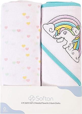 """Juego de toallas para bebés Softan, 2 piezas de toallas de baño para bebés de 26 """"x30"""" y 2 piezas de"""