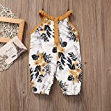 Newborn Baby Girls Round Collar Sleeveless Floral Romper Harem Cropped Pants