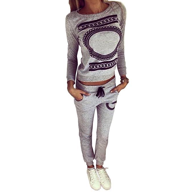 Baymate Donna 2 Pezzi Stampato Tuta Da Ginnastica Jogging Sportiva Pullover  Felpa Top e Pantaloni: Amazon.it: Abbigliamento