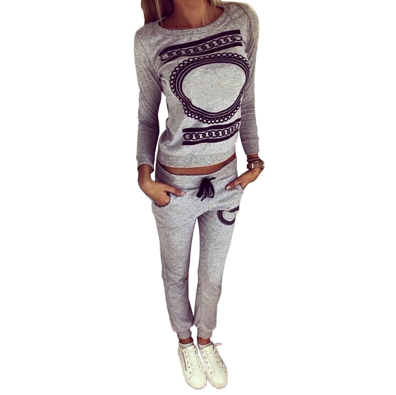 d614739b5d82 Baymate Donna 2 Pezzi Stampato Tuta da Ginnastica Jogging Sportiva Pullover  Felpa Top e Pantaloni