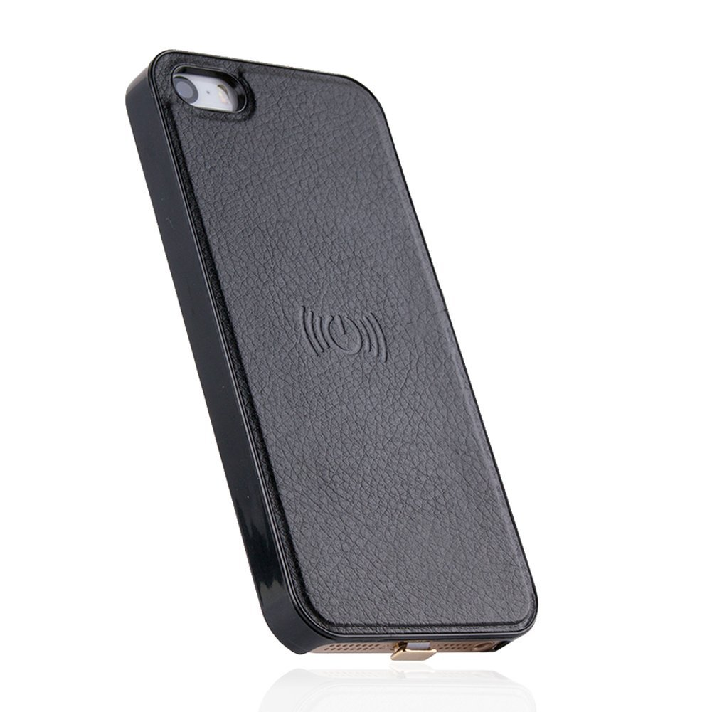 Antye Qi Wireless Charging Case for iPhone SE 5 5S - Ultra Slim Wireless Charger Receiver Case Leather Coated Phone Back Cover (Black)