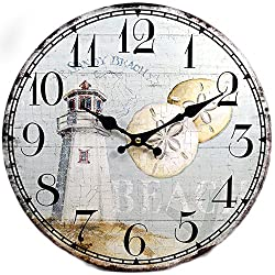 New 13X 13 Lighthouse Wood Wall Clock Home Wall Decor Marine Coastal Nautical