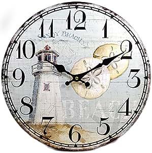 "New 13""X 13"" Lighthouse Wood Wall Clock Home Wall Decor Marine Coastal Nautical"