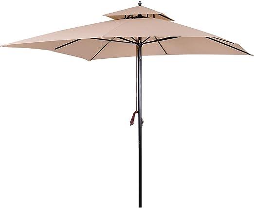 Outsunny Sombrilla Parasol de Acero Grande con Cubierta a Dos Niveles para Jardín Patio Sistema de Polea Mástil Desmonta en Dos Partes Fácil para Guardar y Transportar 300x300x297cm Beige: Amazon.es: Jardín