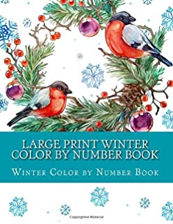 Large Print Winter Color By Number Book Adult Numbers Volume 2