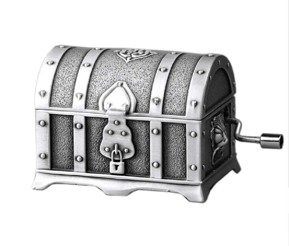 Cuzit Métal Coffre de pirate boîte à musique antique vintage Motif estampé Art Boîte à musique à manivelle Mini Musicbox pour décoration de maison, intérieur de bureau, cadeau d'anniversaire, mar