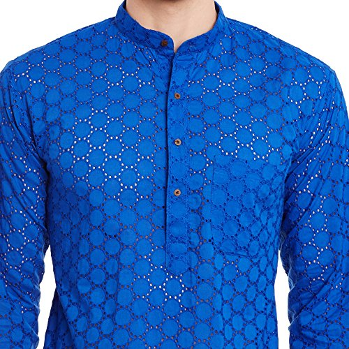 Mens Embroidered Cutwork Cotton Kurta With Churidar Pajama Trousers Machine Embroidery,Blue Chest Size: 46 Inch by ShalinIndia (Image #4)