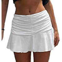 Iycorish Style Ruched Pleated Skirts Woman High Waist Casual 90S Skirt Lady Trendy 2020 Y2K Summer Beachwear White S