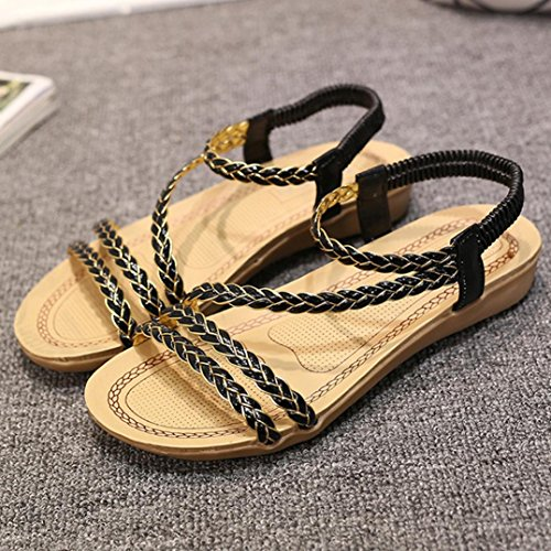 Sandals Beach Shoes Home Black Weave hunpta Flat Summer Sandals Women HnCqS