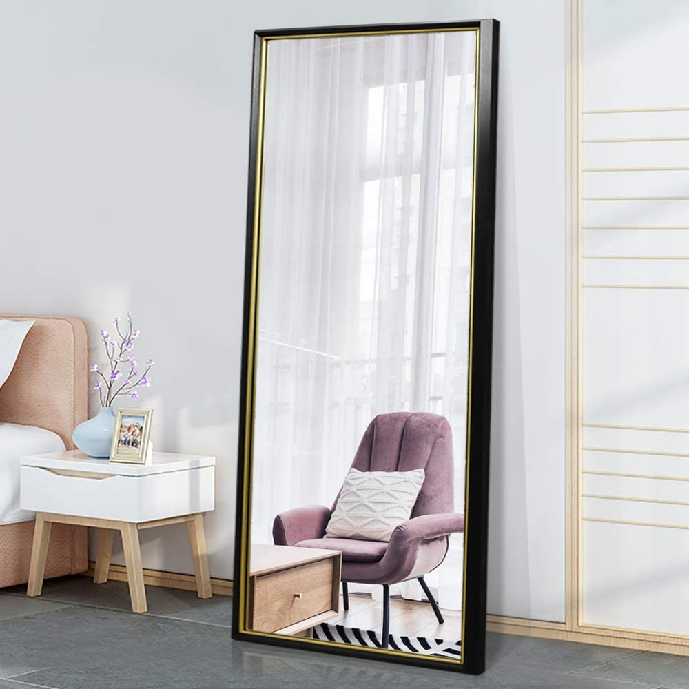 """PexFix 65""""x22"""" Full Length Mirror, Standing Floor Mirror Modern Color Blocking Framed Wall Mounted Mirror Bedroom Dressing Mirror for Home, Office Shops (Black Frame with Gold Edge)"""