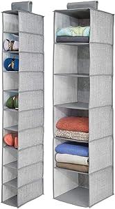 mDesign Fabric Over Rod Hanging Closet Storage Organizers, Includes a Wide 6-Shelf Sweater Organizer, and a Narrow 10-Shelf Shoe Rack - Textured Print - Set of 2 - Gray