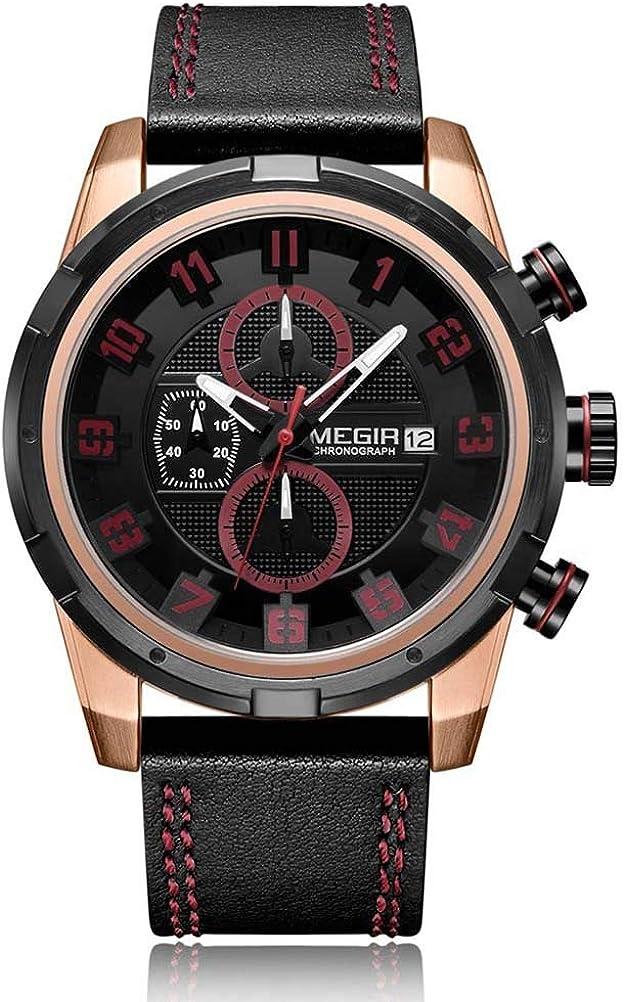 Hermosos Relojes megir ml2082g Hombres Reloj de Cuarzo de Cuero de Moda pequeñas Tres Pin Automatic Date Men 's Watch