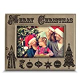 Bella Busta - '' Merry Christmas ''- Joy-Peace-Love-Faith-Believe- Engraved Leather Picture Frame -Christmas gift for Family, Friend (5''x 7'' Horizontal (Light Brown))