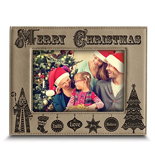 Bella Busta - '' Merry Christmas ''- Joy-Peace-Love-Faith-Believe- Engraved Leather Picture Frame -Christmas gift for Family, Friend (5''x 7'' Horizontal (Light Brown)) by BELLA BUSTA