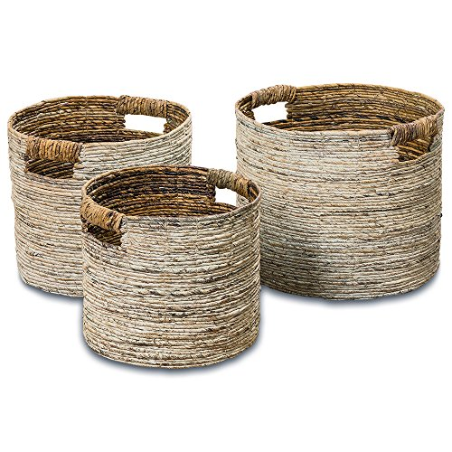 The Romantic Beach Chic White Washed Banana Leaf Baskets, Set of 3, Chunky Weave, Rustic Natural Accents, Cut Out Handles, Various Sizes 10 1/2 Inches - Over 1 Ft. Long, By Whole House Worlds