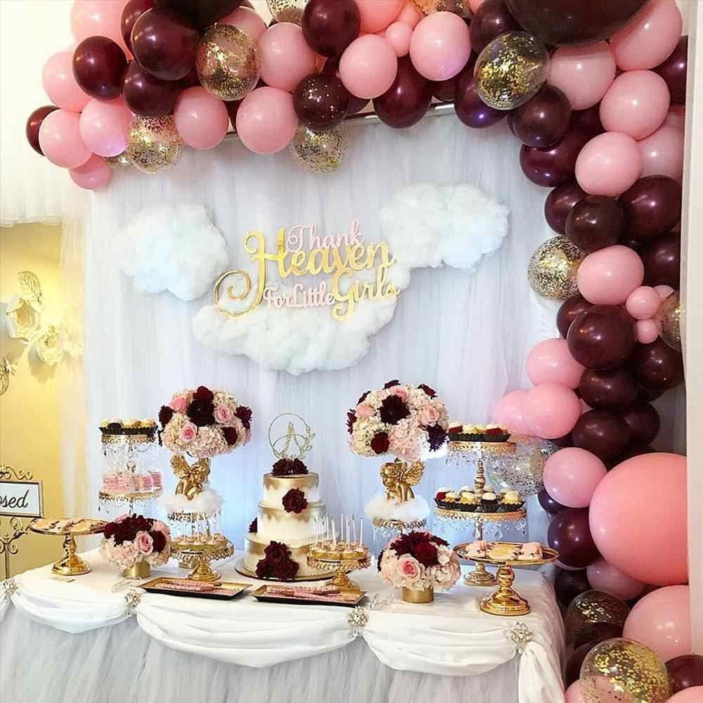 Decoraciones de Fiesta Borgo/ña y Oro MMTX 50 Piezas Globos Oro Rosa Borgo/ña Globos Rosa Globos Confeti Oro para Bodas Ceremonia y Cumplea/ños Decoraciones de Fiesta Fiestas Navidad