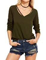 Allegrace Women Sexy Long Sleeve T Shirts Casual Fashion Tee Blouse Tops