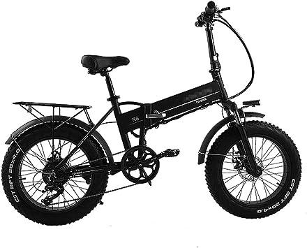 FJNS Bicicleta Electrica, Bicicleta Plegable de Aluminio de 20 * 4.0 Pulgadas para Adultos Bicicleta de 48V / 250W Motor sin escobillas montaña Potente Bicicleta de Nieve/Playa,Black8ah: Amazon.es: Deportes y aire libre