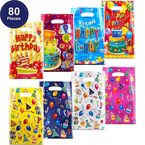 80 Pieces Plastic Party Favor Bags Birthday Gift Goody Bags for Kids Birthday Party Favors, Cake and Balloon Patterns