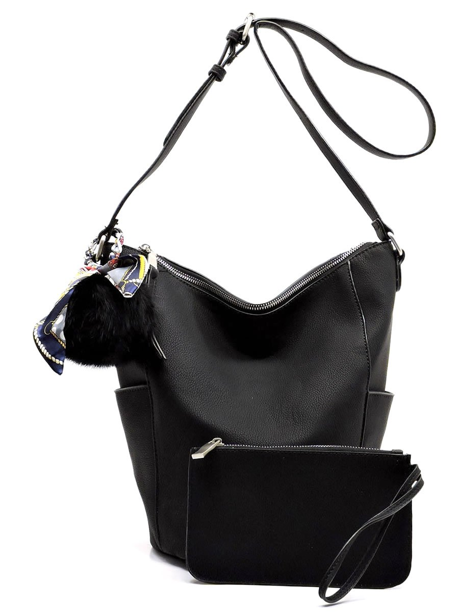Elphis Fashion Bucket 2-in-1 Crossbody Bag Satchel Hobo Womens Large Handbag Purse (Black)