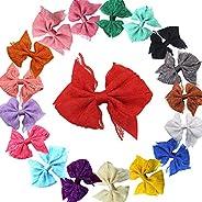 "40pcs 2.75"" Boutique Hair Bows Tie Baby Girls Kids Children Rubber Band Ribbon Hair"