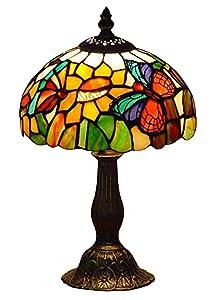 Farfalla Art Tiffany di Tabelle Della Lampada con W 8 Pollici Ombra Macchiato di Vetro Metallo Base di Fine Ottone Antico Uso Solo Interno