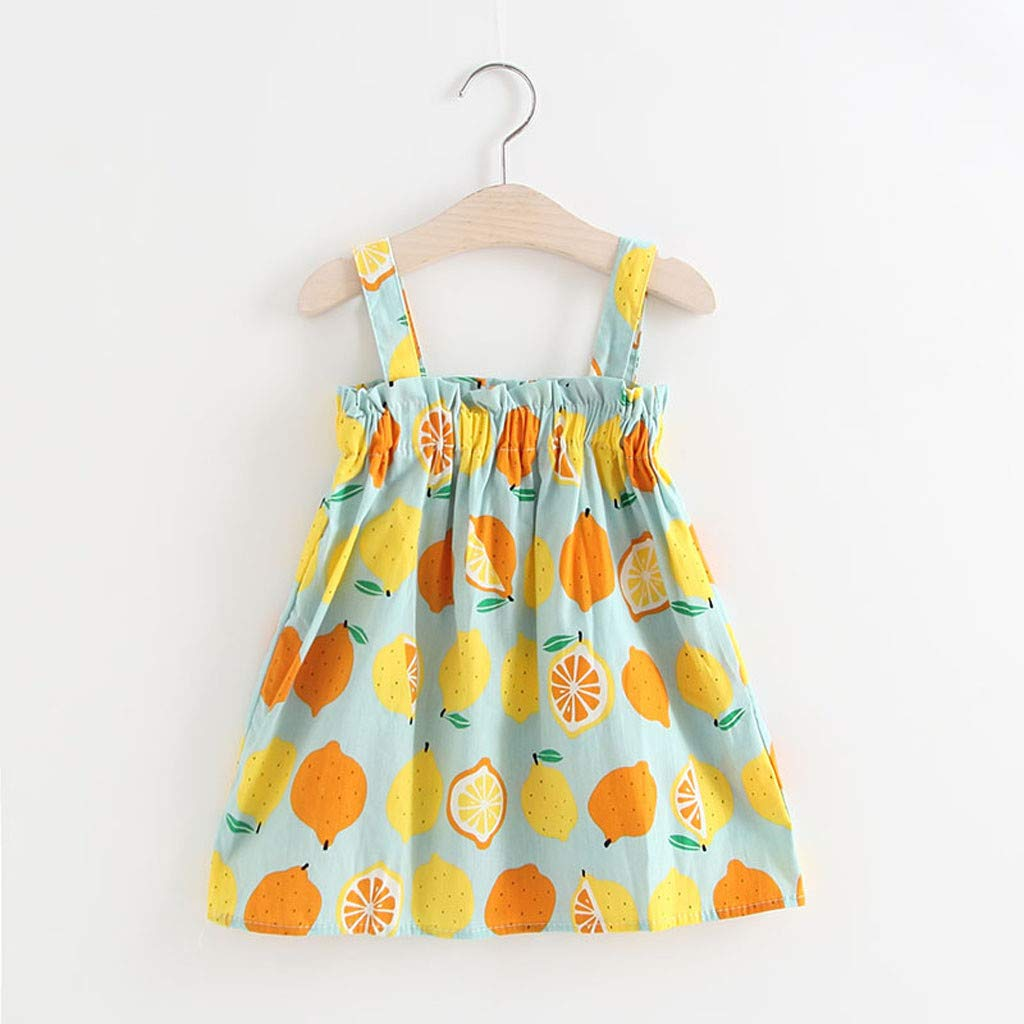 MOVEmen Toddler Infant Baby Girls Lemon Print Sleeveless Princess Dresses Sling Outfits Ruffle Evening Dress