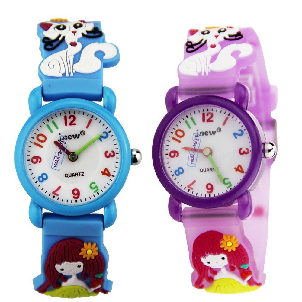 TIDOO Cartoon Jelly Waterproof Kids Watches with Little Girl & Cute Cat