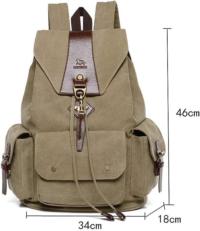 Classic laptop//messenger bag in tela lavato con elegante in ecopelle cachi