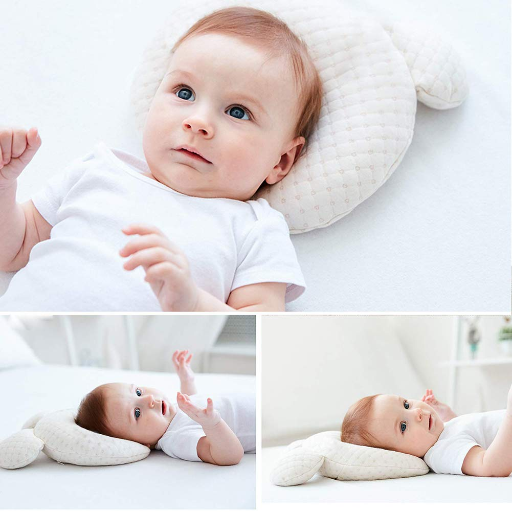 Invisible Zipper Suitable for Cradle Bed Trolley Car Seat,A Easy to Disassemble Flat Head Baby Pillow Newborn Toddler Infant Pillow for Head Shaping