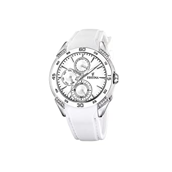 FESTINA F16394-1 - Reloj de mujer de cuarzo, correa de caucho color blanco: Festina: Amazon.es: Relojes