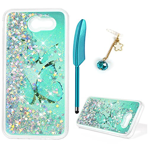 (Galaxy J3 Case, J3 Case, Liquid Glitter Cover Sparkle Love Heart Soft TPU Bumper with Pen and Dust Plug for Samsung Galaxy J3 - Blue Butterfly)