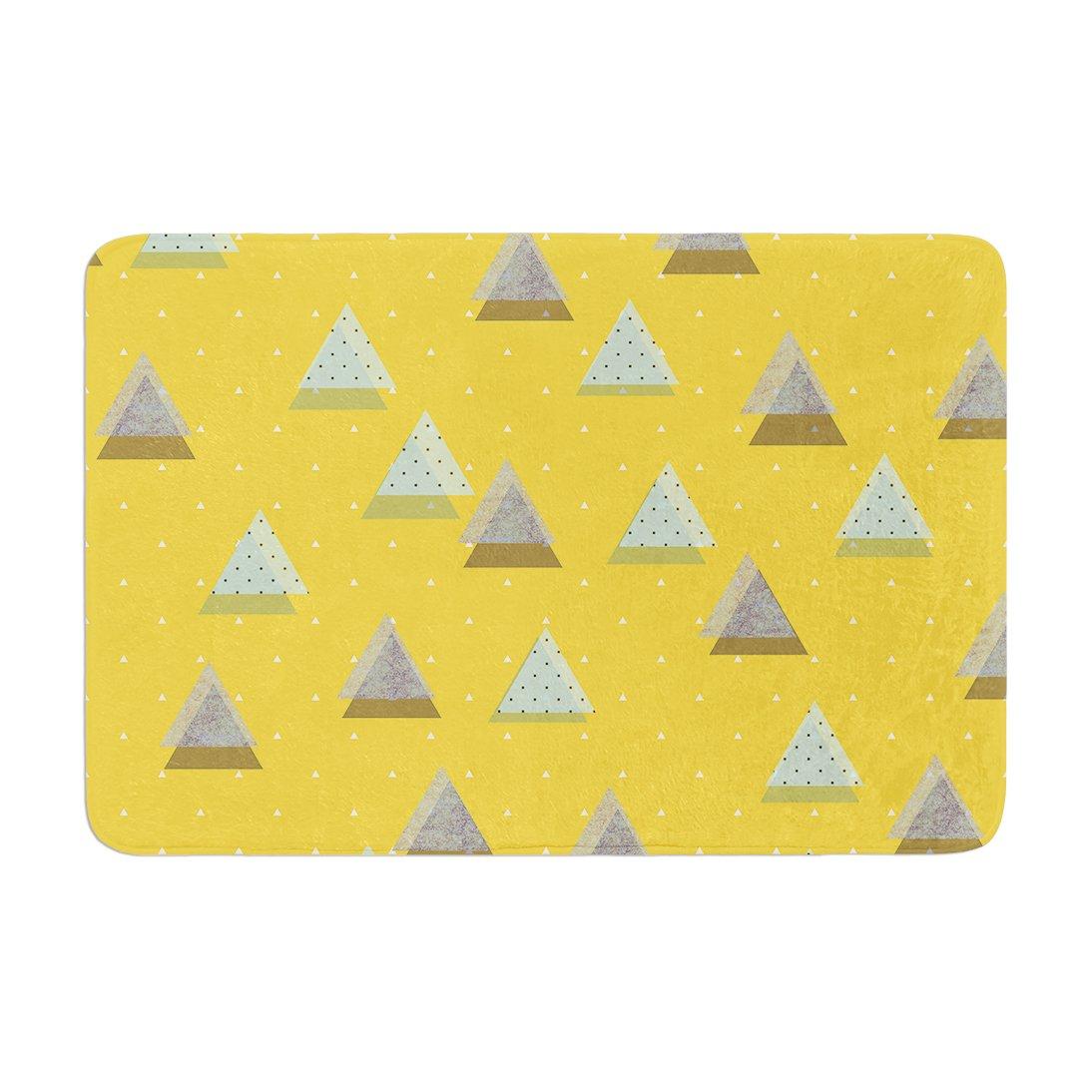 17 by 24 Kess InHouse Strawberringo Triangles Yellow Geometric Memory Foam Bath Mat