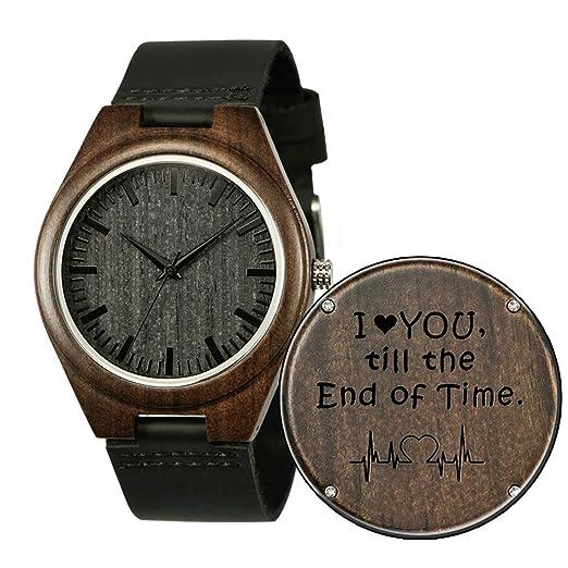 Shifenmei S5520 - Reloj de Madera con Grabado Personalizable para Hombre y Mujer, Ideal como Regalo de cumpleaños, Boda, graduación, Navidad: Amazon.es: ...