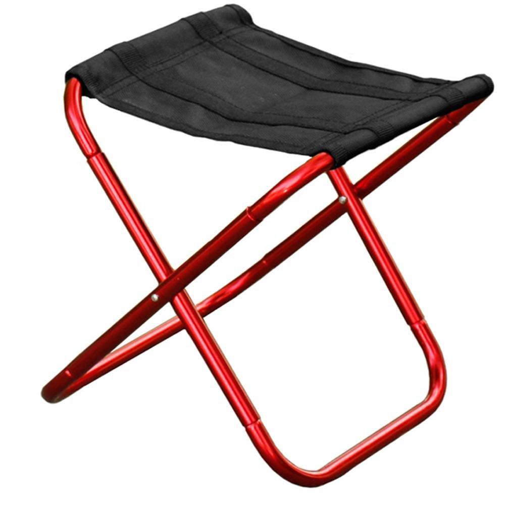 Heruai Outdoor Folding Stool Aluminum Alloy Portable Folding Chair Fishing Beach Chair Leisure Stools , red