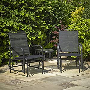 Kingfisher Black Gliding Love Seat Rocking Chairs Outdoor Garden Furniture Set